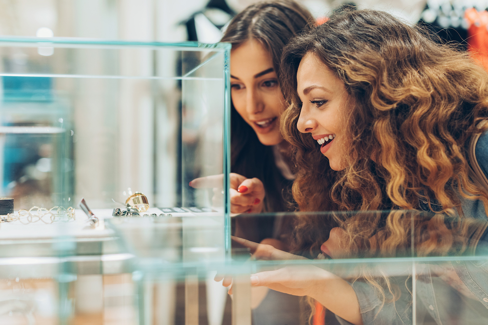 Girls looking at accessories
